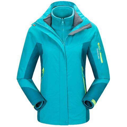 Winter Outdoor Clothing Andes Triple Three Sets of Windproof Breathable Sports Mountaineering Clothing - LAKE BLUE L