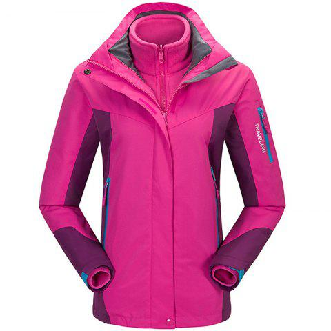 Winter Outdoor Clothing Andes Triple Three Sets of Windproof Breathable Sports Mountaineering Clothing - ROSE RED XL