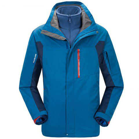Winter Outdoor Clothing Andes Triple Three Sets of Windproof Breathable Sports Mountaineering Clothing - SEA BLUE 3XL