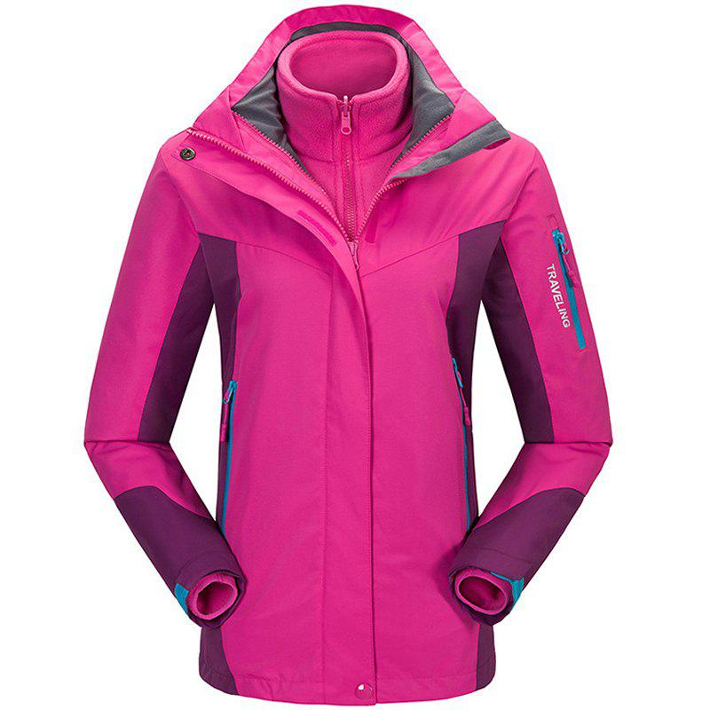 Winter Outdoor Clothing Andes Triple Three Sets of Windproof Breathable Sports Mountaineering Clothing - ROSE RED M