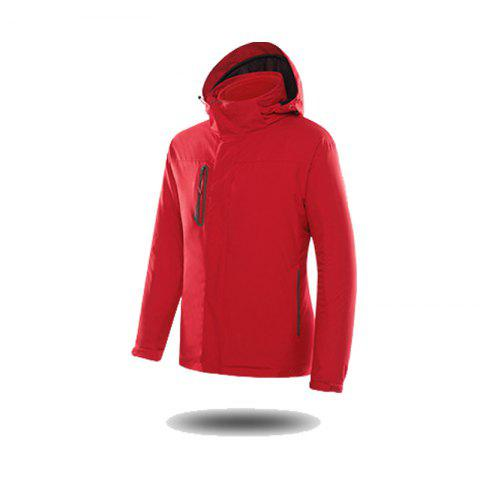 Jackets Men Triple Waterproof Breathable Mountaineering Women Warm Windproof Outdoor Clothing - RED 3XL