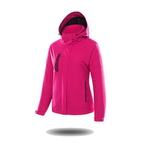 Jackets Men Triple Waterproof Breathable Mountaineering Women Warm Windproof Outdoor Clothing - ROSE RED M