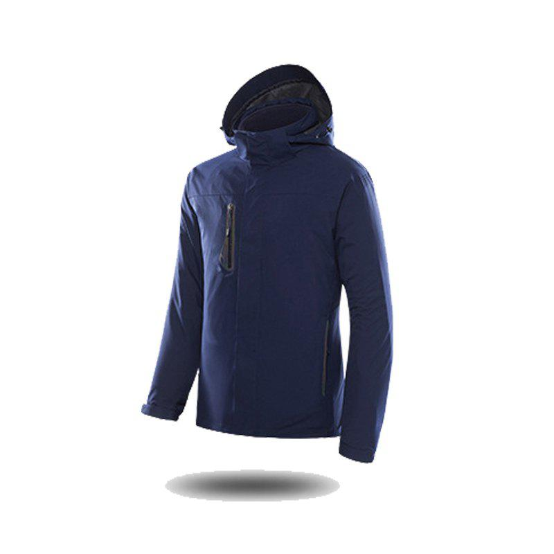 Jackets Men Triple Waterproof Breathable Mountaineering Women Warm Windproof Outdoor Clothing - DEEP BLUE XL