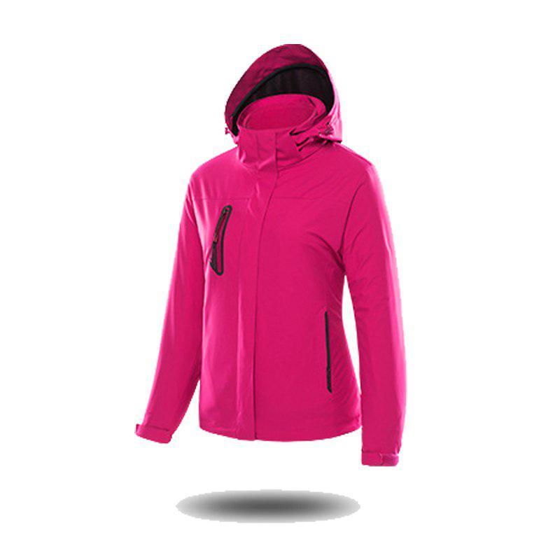 Jackets Men Triple Waterproof Breathable Mountaineering Women Warm Windproof Outdoor Clothing - ROSE RED L