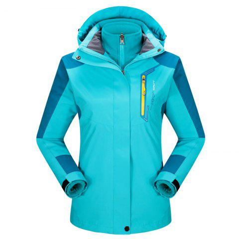 2017 autumn and winter new two-piece jacket three-in-one waterproof plus cashmere outdoor jacket mountaineering jacket - LAKE BLUE 2XL