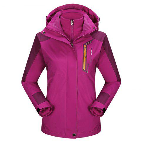 2017 autumn and winter new two-piece jacket three-in-one waterproof plus cashmere outdoor jacket mountaineering jacket - DEEP ROSE RED 2XL