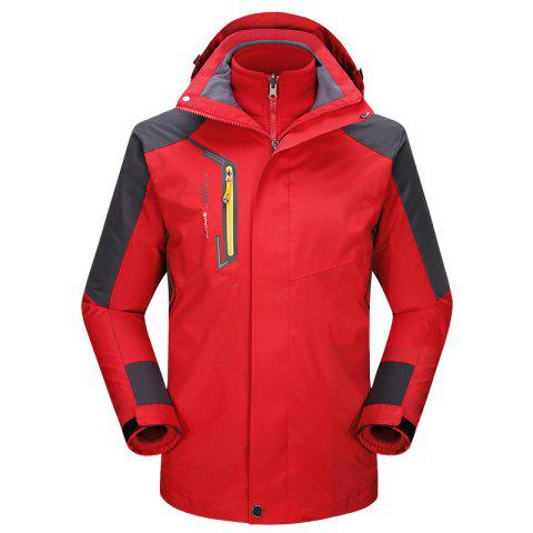 2017 autumn and winter new two-piece jacket three-in-one waterproof plus cashmere outdoor jacket mountaineering jacket - RED 2XL