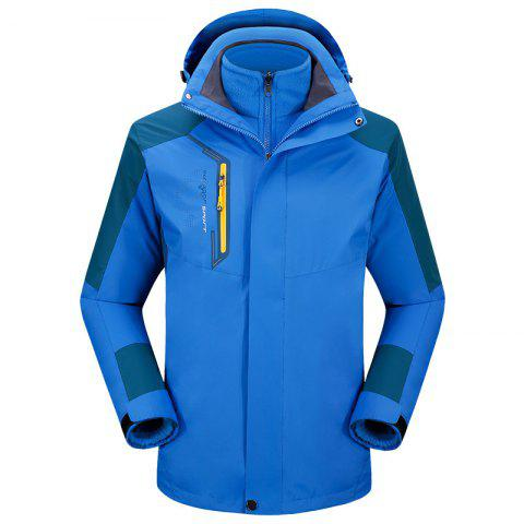 2017 autumn and winter new two-piece jacket three-in-one waterproof plus cashmere outdoor jacket mountaineering jacket - BLUE L
