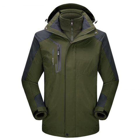 2017 autumn and winter new two-piece jacket three-in-one waterproof plus cashmere outdoor jacket mountaineering jacket - ARMYGREEN 5XL