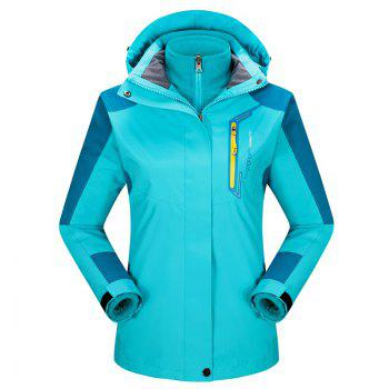 2017 autumn and winter new two-piece jacket three-in-one waterproof plus cashmere outdoor jacket mountaineering jacket - LAKE BLUE LAKE BLUE