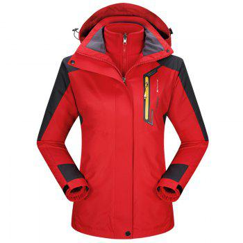 2017 autumn and winter new two-piece jacket three-in-one waterproof plus cashmere outdoor jacket mountaineering jacket - FLAME FLAME