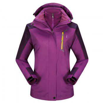 2017 autumn and winter new two-piece jacket three-in-one waterproof plus cashmere outdoor jacket mountaineering jacket - VIOLET VIOLET