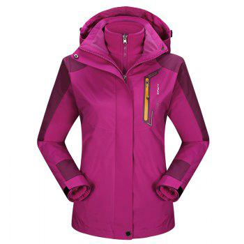 2017 autumn and winter new two-piece jacket three-in-one waterproof plus cashmere outdoor jacket mountaineering jacket - DEEP ROSE RED DEEP ROSE RED