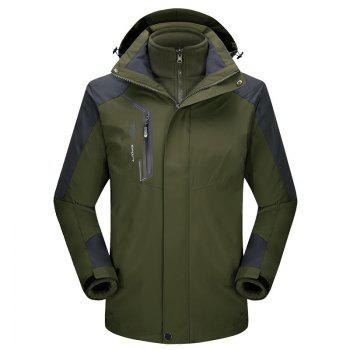 2017 autumn and winter new two-piece jacket three-in-one waterproof plus cashmere outdoor jacket mountaineering jacket - ARMYGREEN ARMYGREEN