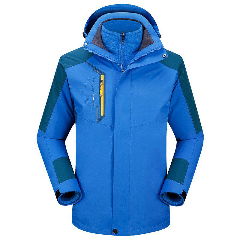 2017 autumn and winter new two-piece jacket three-in-one waterproof plus cashmere outdoor jacket mountaineering jacket - BLUE 4XL
