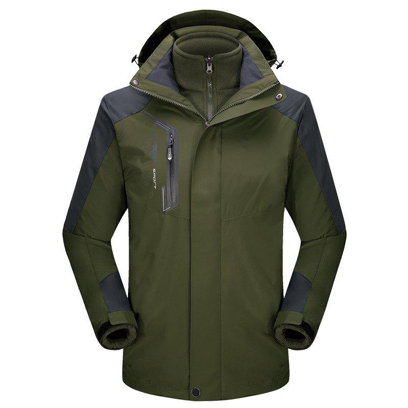 2017 autumn and winter new two-piece jacket three-in-one waterproof plus cashmere outdoor jacket mountaineering jacket - ARMYGREEN M