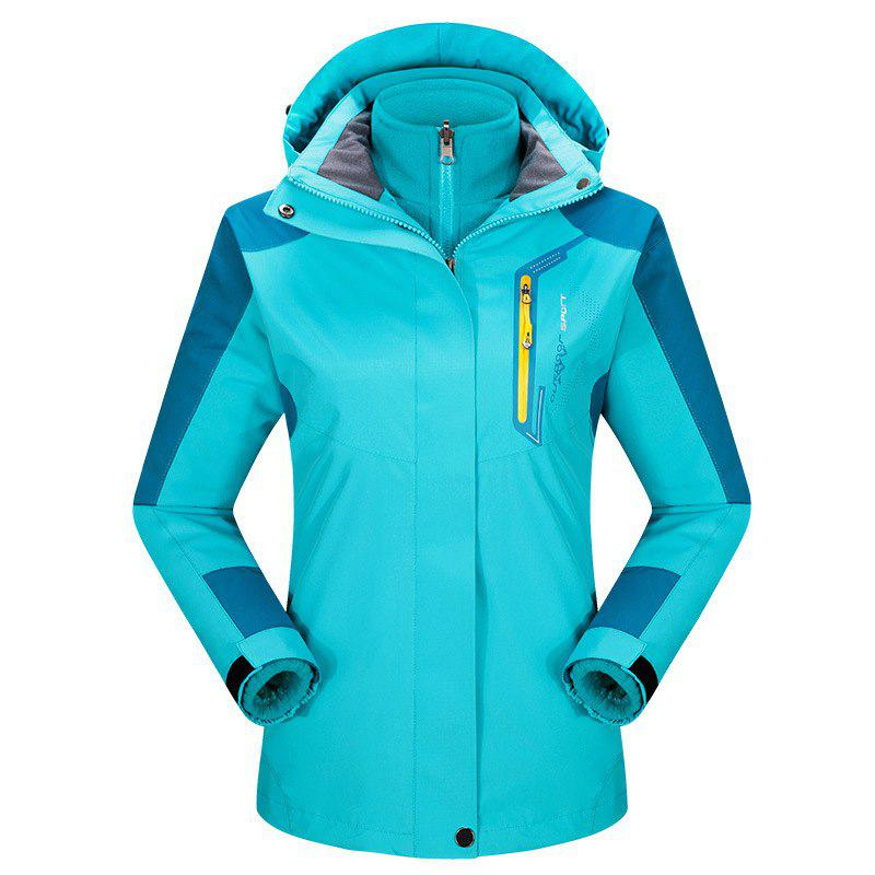 2017 autumn and winter new two-piece jacket three-in-one waterproof plus cashmere outdoor jacket mountaineering jacket - LAKE BLUE XL