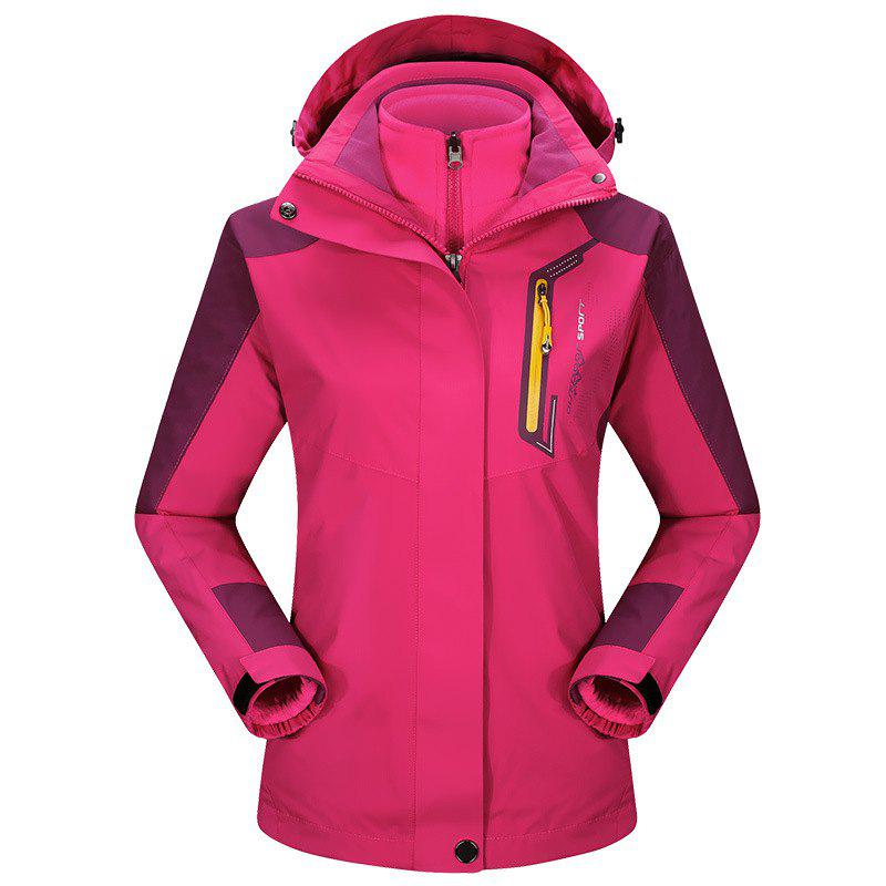 2017 autumn and winter new two-piece jacket three-in-one waterproof plus cashmere outdoor jacket mountaineering jacket - ROSE RED 3XL