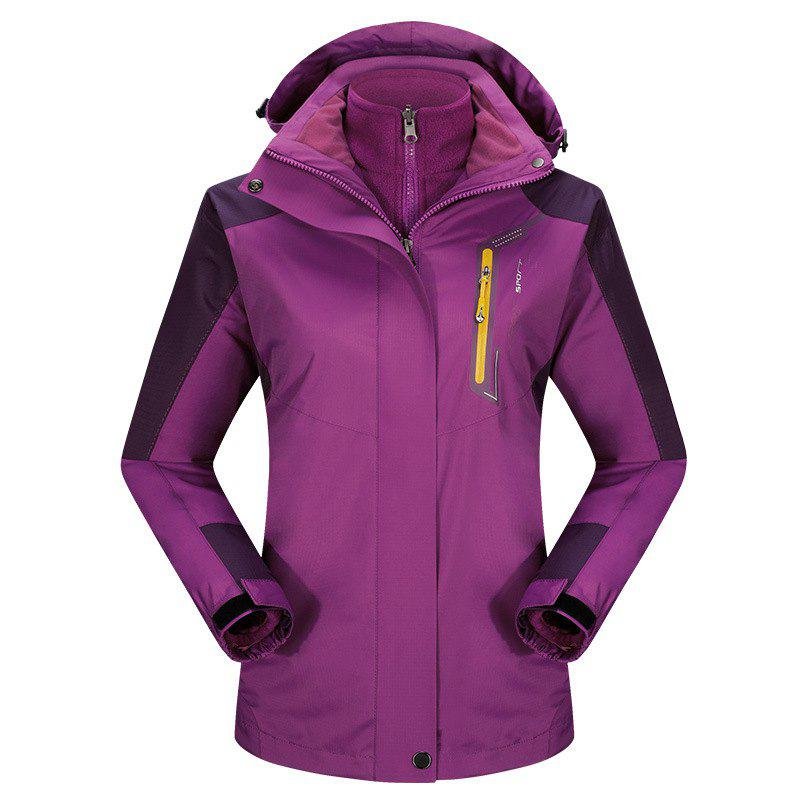 2017 autumn and winter new two-piece jacket three-in-one waterproof plus cashmere outdoor jacket mountaineering jacket - VIOLET 2XL