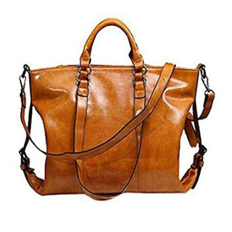 Retro Style Wax oil Cowhide Shoulder Bag Cross Body Bag Tote Handbag for Women Light Brown - LIGHT BROWN