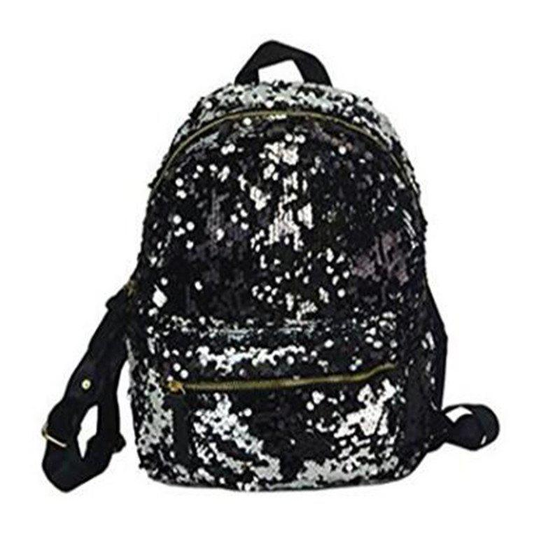 Women Sequins Backpack Fashion Casual Scholl Bag Purse Satchel Black - BLACK