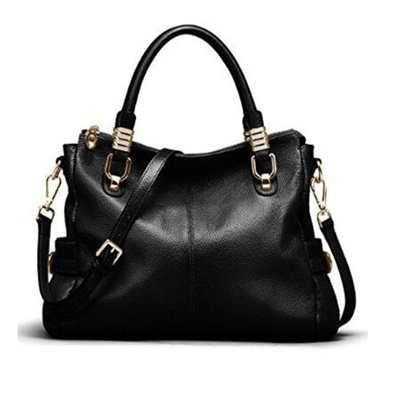 Womens Genuine Leather Vintage Tote Shoulder Bag Top-handle Crossbody Handbags Large Capacity Ladies' Purse Black - BLACK