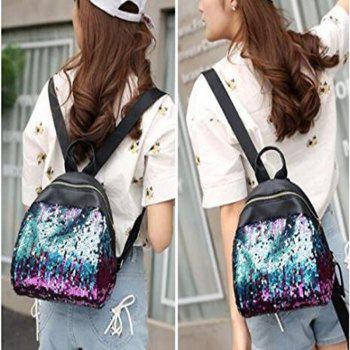 Women Sequins Backpack Casual Student Glitter Bling School Bag Purse Satchel Daypacks - BLUE