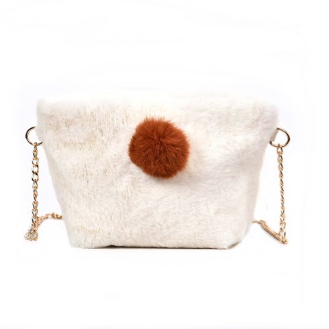 Small Square Bag Hair Ball Chain Shoulder Bag Cross Wild Package - WHITE