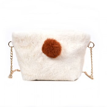 Small Square Bag Hair Ball Chain Shoulder Bag Cross Wild Package - WHITE WHITE