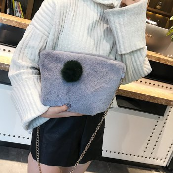 Small Square Bag Hair Ball Chain Shoulder Bag Cross Wild Package - GRAY