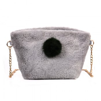 Small Square Bag Hair Ball Chain Shoulder Bag Cross Wild Package - GRAY GRAY