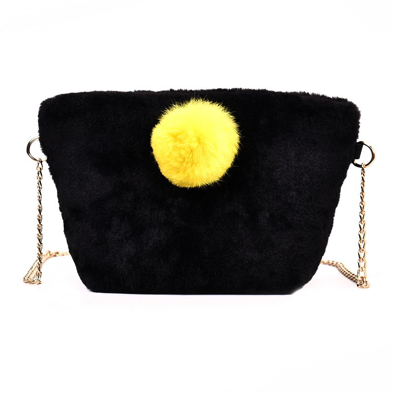 Small Square Bag Hair Ball Chain Shoulder Bag Cross Wild Package - BLACK