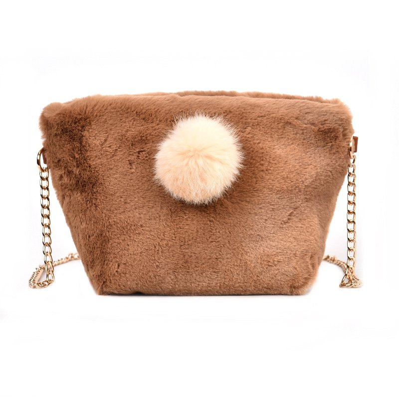 Small Square Bag Hair Ball Chain Shoulder Bag Cross Wild Package - KHAKI