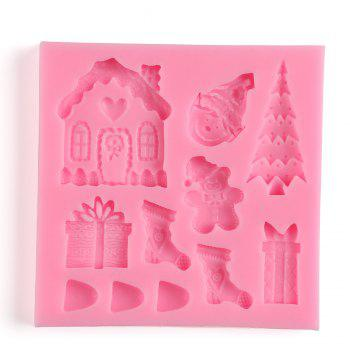 Facemile Cake Decorating Tool Fondant Silicone Chocolate Candy Mold Cake Tools Mold Christmas Santa Sugar Paste Kitchen - PINK