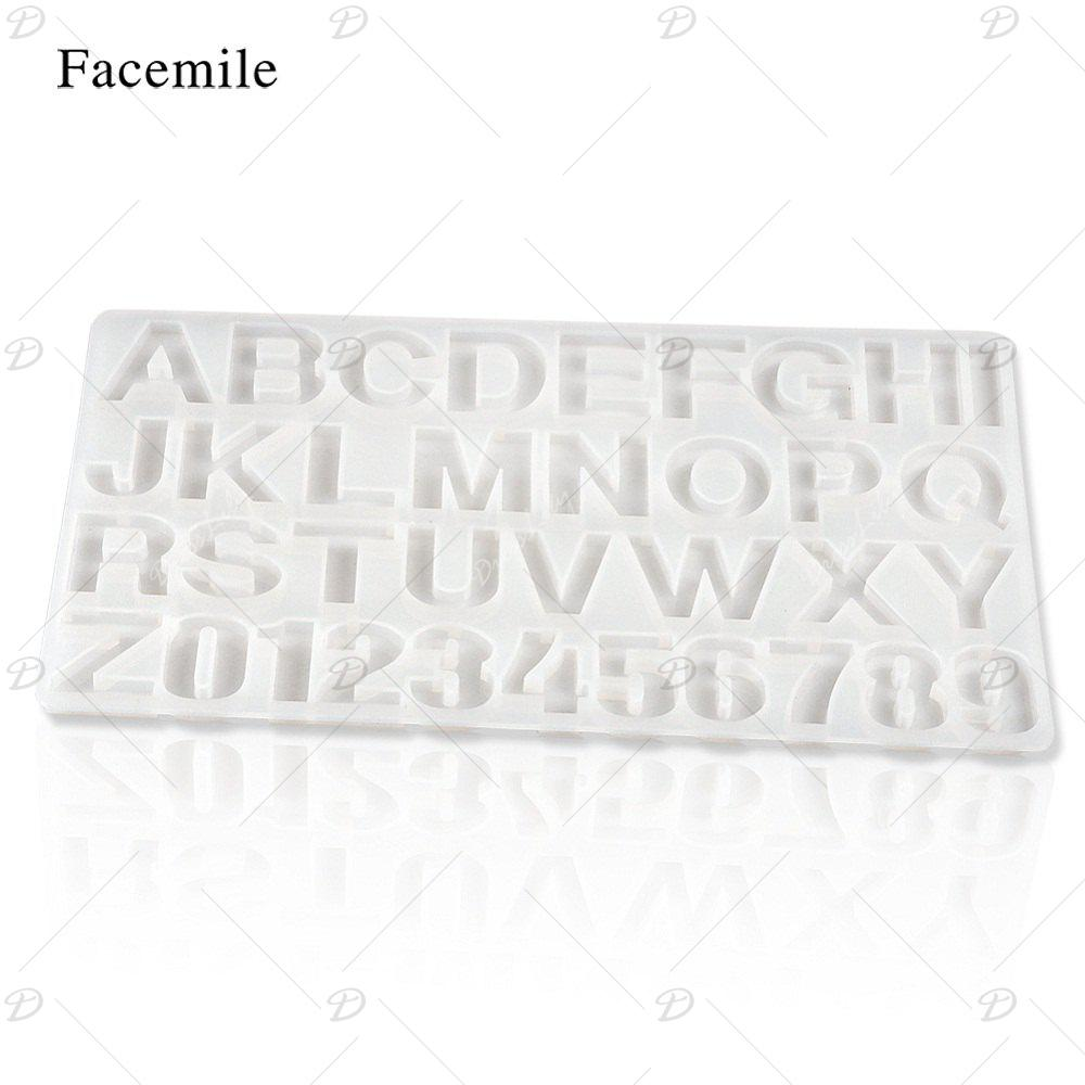 Facemile 3D DIY Letter Number Cake Tool Christmas Silicone Chocolate Mold Jelly Candy Pudding Mould Fondant Cake Decorating - TRANSPARENT