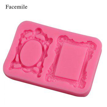 Facemile Retro Frame Mirror For Chocolate Cupcake Mold Kitchen Baking Wedding Christmas Cake Border Fondant Cake Decorating Tool - PINK