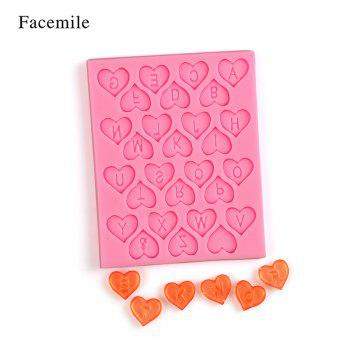 Facemile DIY Heart Alphabet Letters Silicone Mold Party Cupcake Fondant Cake Decorating Tools Candy Chocolate Gumpaste Mold -  PINK