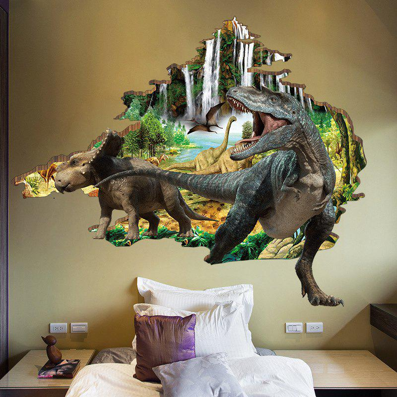 3D Dinosaur Wall Sticker Mountain River Waterproof Wall Decals for Kids Room flower bridge river pattern 3d wall art sticker