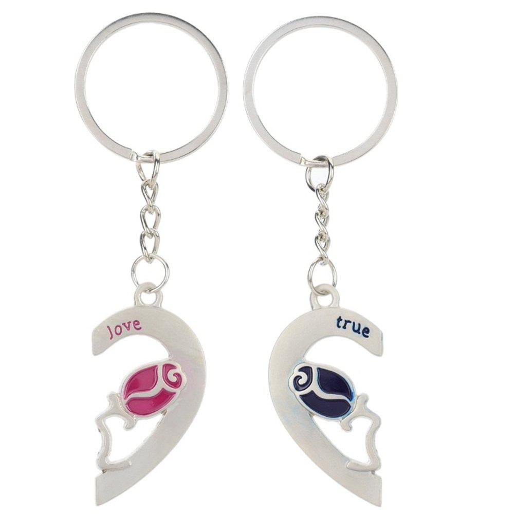 Heart-shaped rose Valentine's Day Keychain Favors Wedding Souvenirs men and women key ring Gifts - SILVER