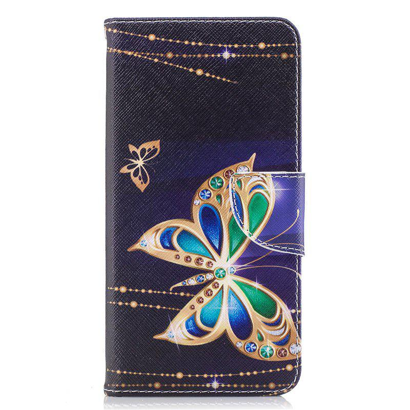 PU Leather Material Big Butterfly Pattern Painted Phone Case for OnePlus 5T - COLOUR