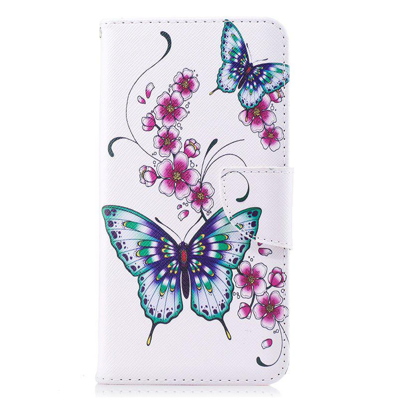 PU Leather Material Peach Butterfly Pattern Painted Phone Case for OnePlus 5T - COLOUR