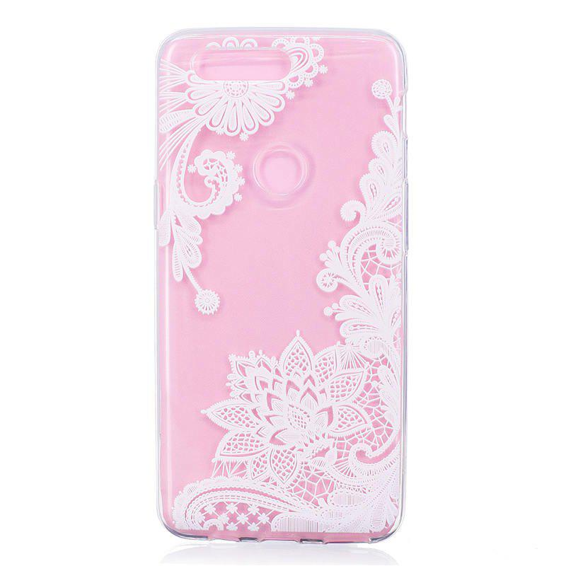 TPU Material White Rose Pattern Painted Phone Case for OnePlus 5T - TRANSPARENT