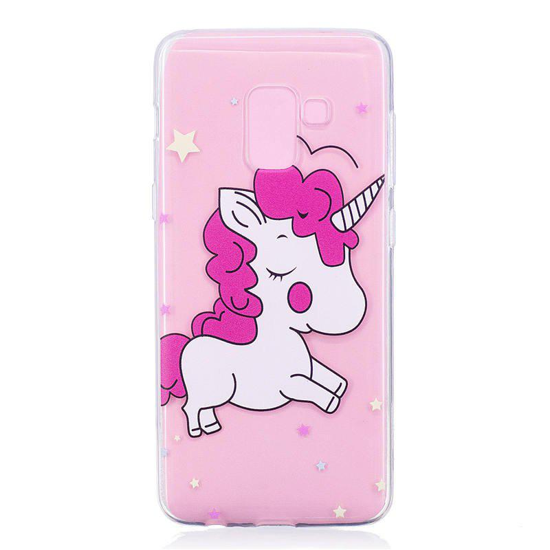 TPU Material Pink Unicorn Pattern Painted Phone Case for Samsung Galaxy A5(2018) - COLOUR