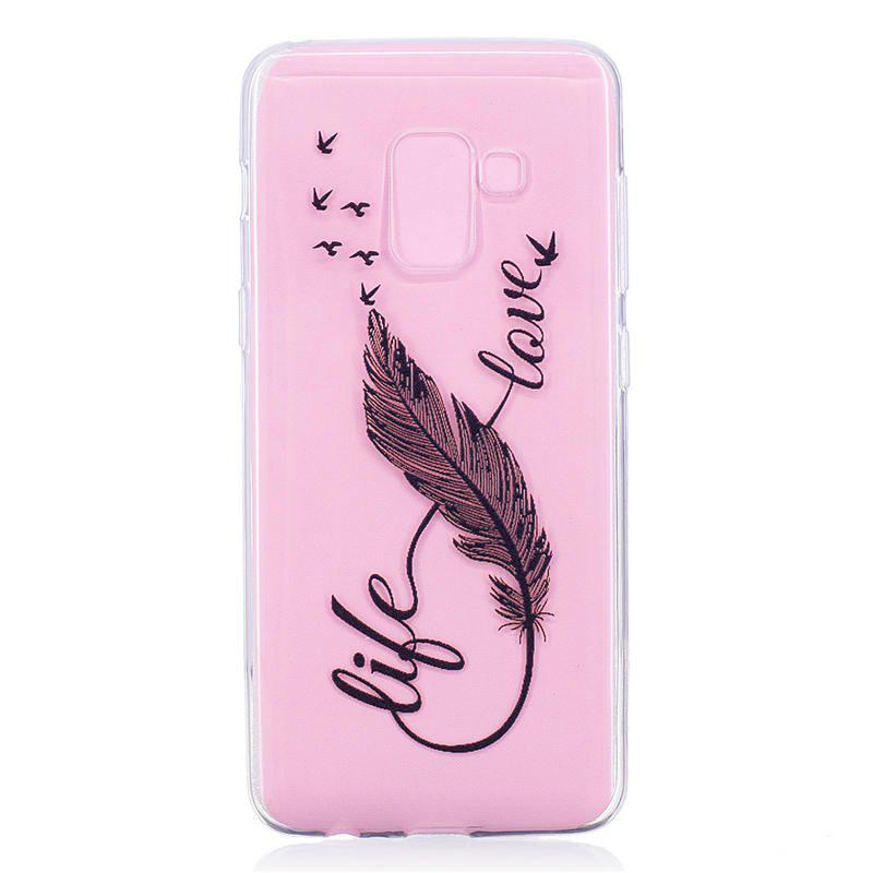 TPU Material 8 Words Feather Pattern Painted Phone Case for Samsung Galaxy A5(2018) - TRANSPARENT