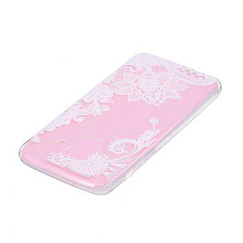 TPU Material White Rose Pattern Painted Phone Case for Samsung Galaxy A5(2018) - TRANSPARENT