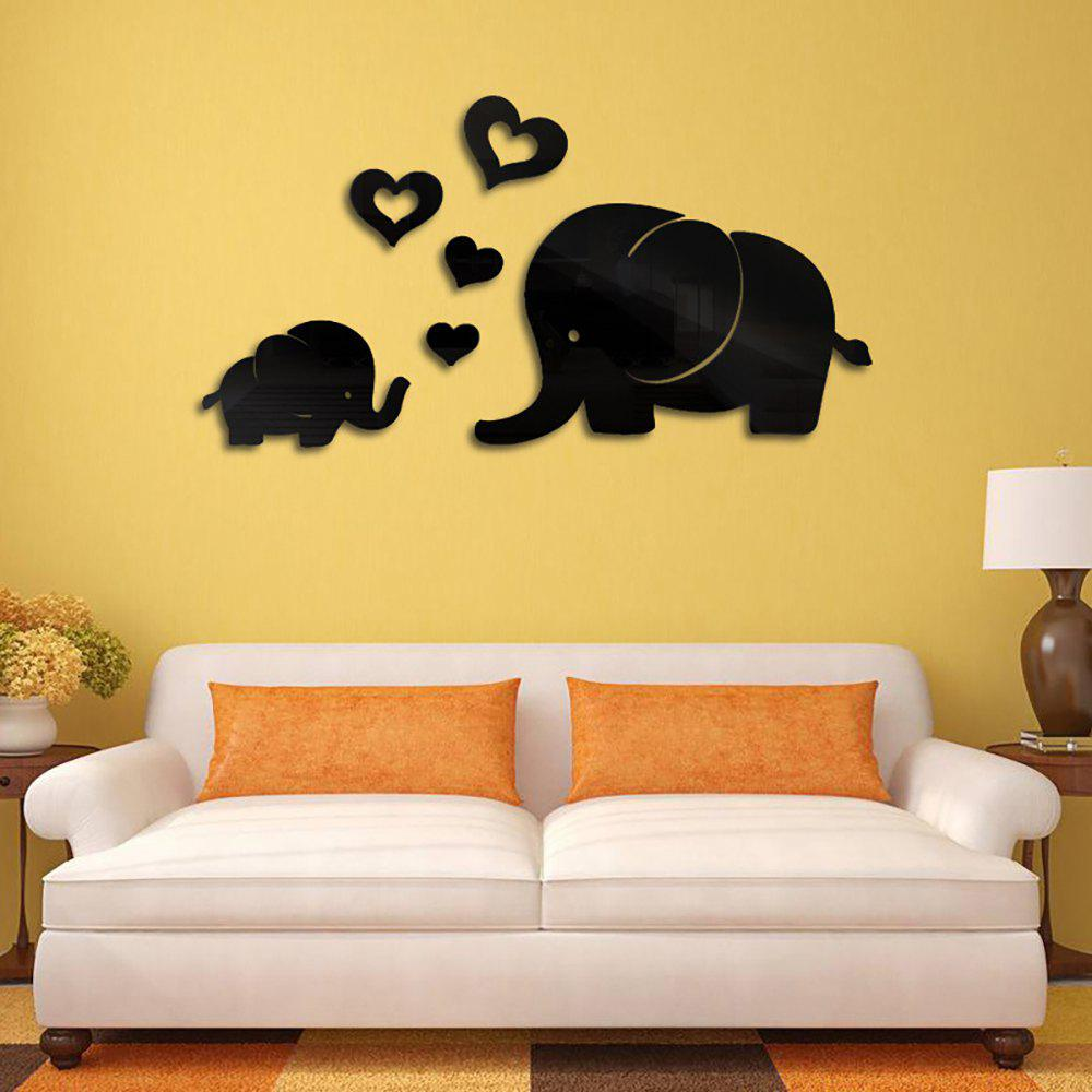 2018 Diy Elephants 3D Acrylic Decorative Mirror Wall Stickers BLACK ...