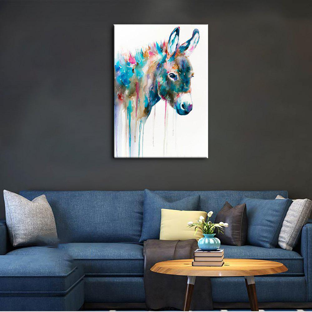 YHHP Hand Painted Animal Canvas Oil Painting Hair Donkey 4pcs yhhp artistic hand painted abstract oil painting