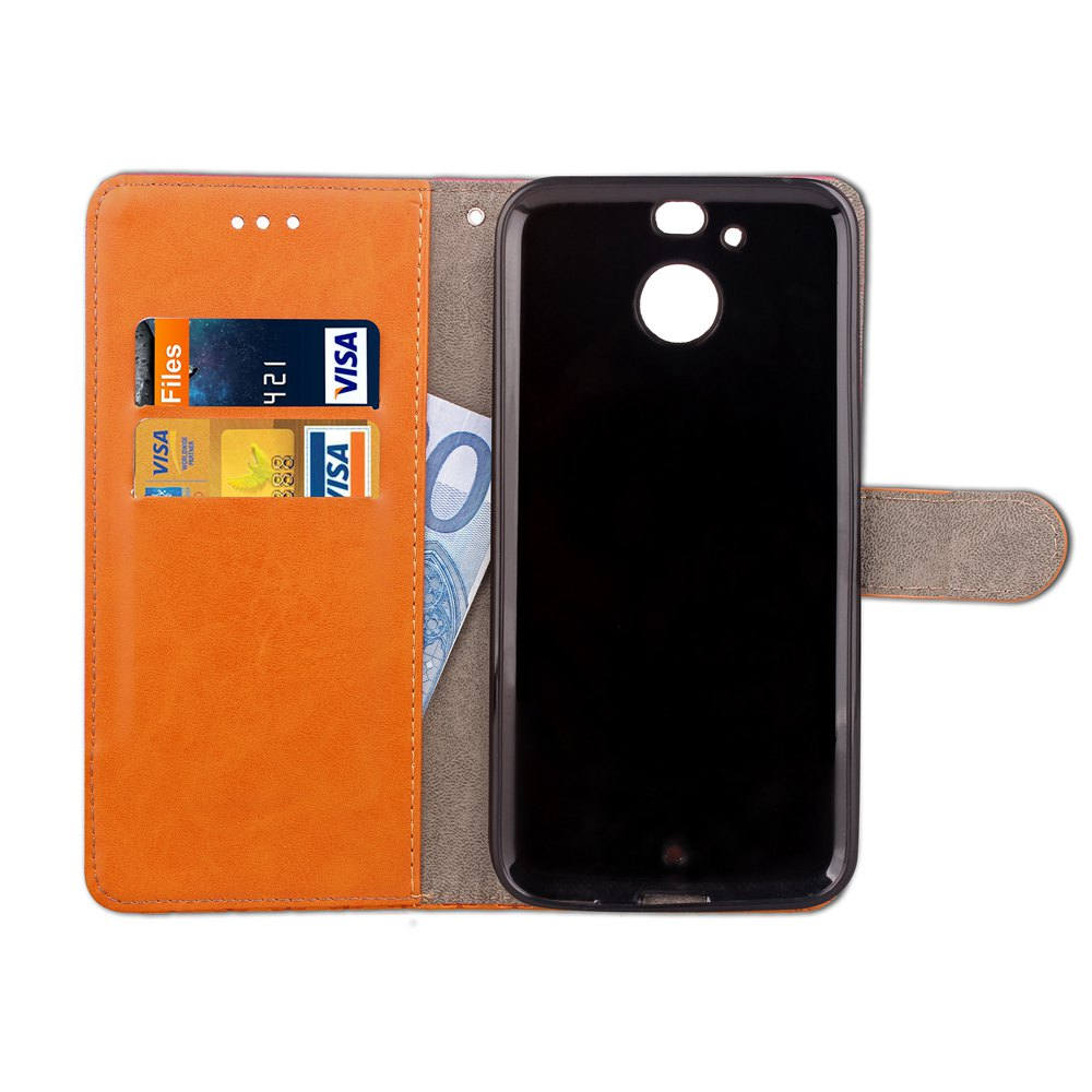 Hit Color Cowboy stripes Leaf Card Lanyard Pu Leather Cover for HTC Bolt - GREEN