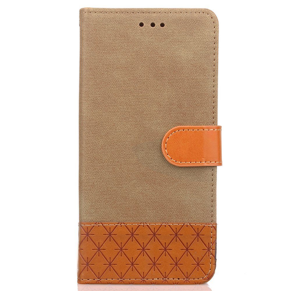 Hit couleur rayures de cow-boy Leaf Card longe couverture en cuir PU pour HTC Bolt - Palomino