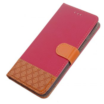 Hit Color Cowboy stripes Leaf Card Lanyard Pu Leather Cover for Samsung S5 - ROSE RED